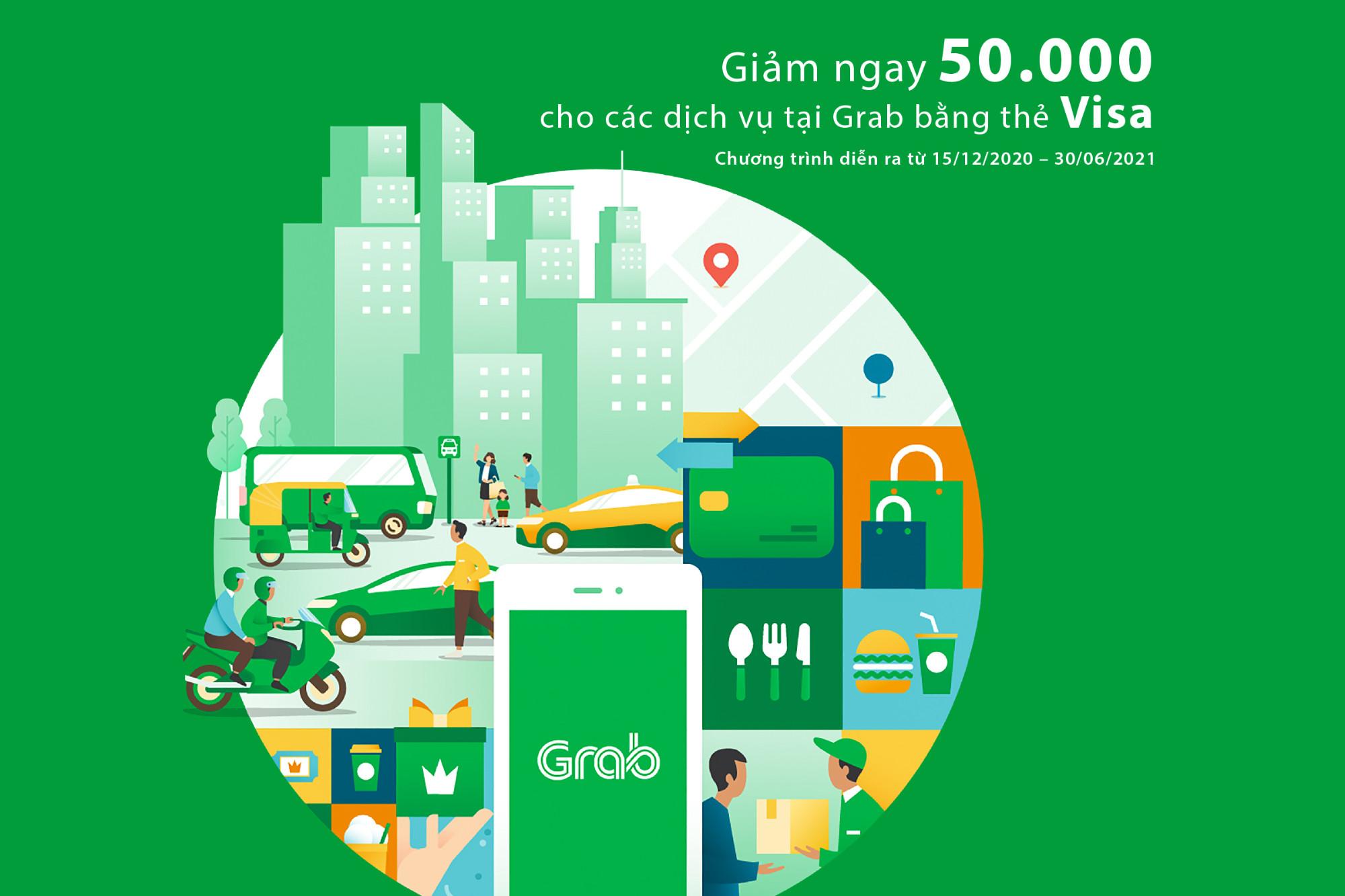 Giảm ngay 50.000 cho các dịch vụ tại Grab bằng thẻ Visa
